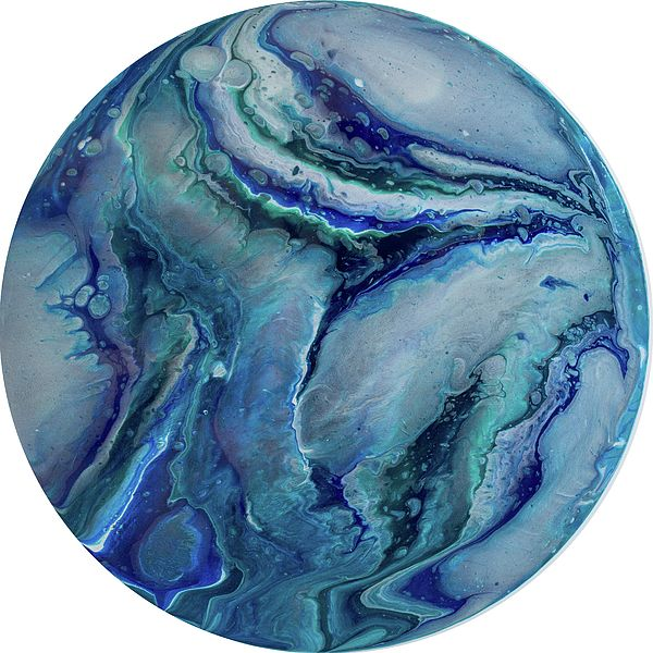 Polaris 4 - A contemporary painting created using acrylic pour techniques. Painted on plastic coated aluminium discs. Inspired by the planets and sci-fi fantasy visual themes.