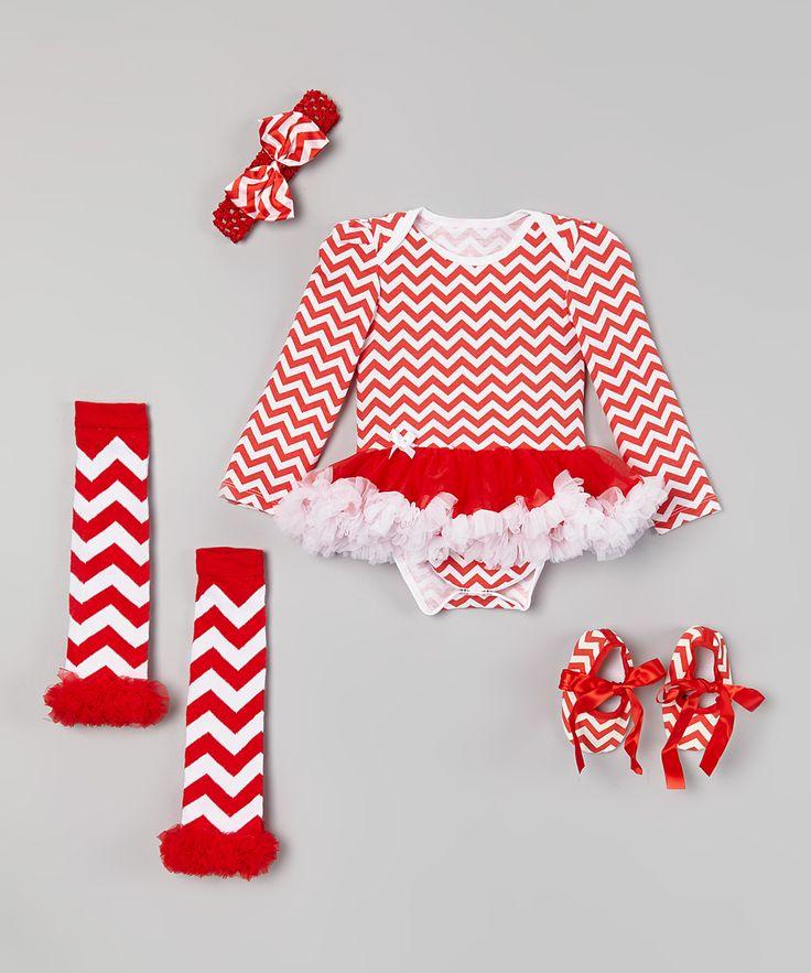 Red Chevron Skirted Bodysuit Set - Infant