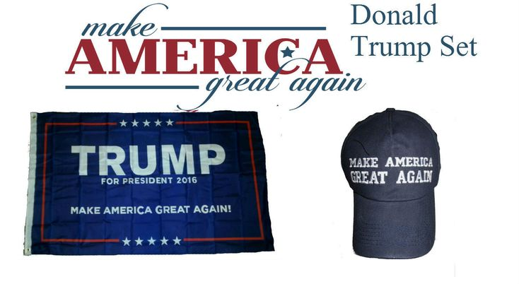 3X5 Donald Trump 2016 President Make America Great Again Blue Hat Flag Set 3'X5'