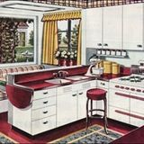 An American Gas Association ad which showcases a built-in breakfast booth and convenient fold-down countertop.
