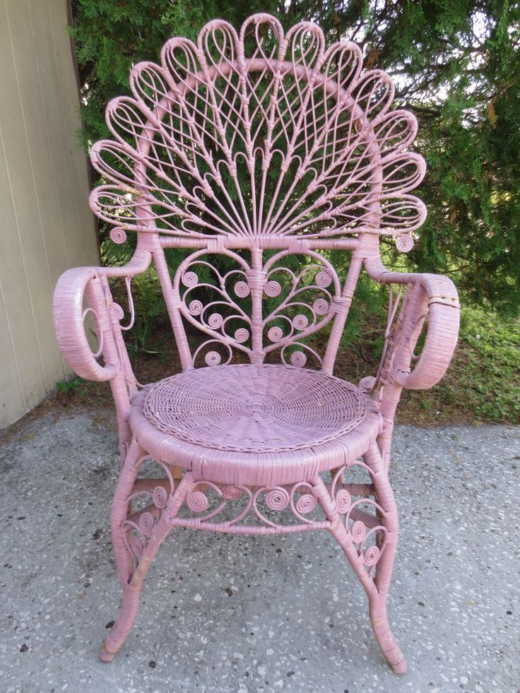 Peacock Wicker Scroll Work Chair Victorian Shabby Chic Beach Cottage Regency #peacock