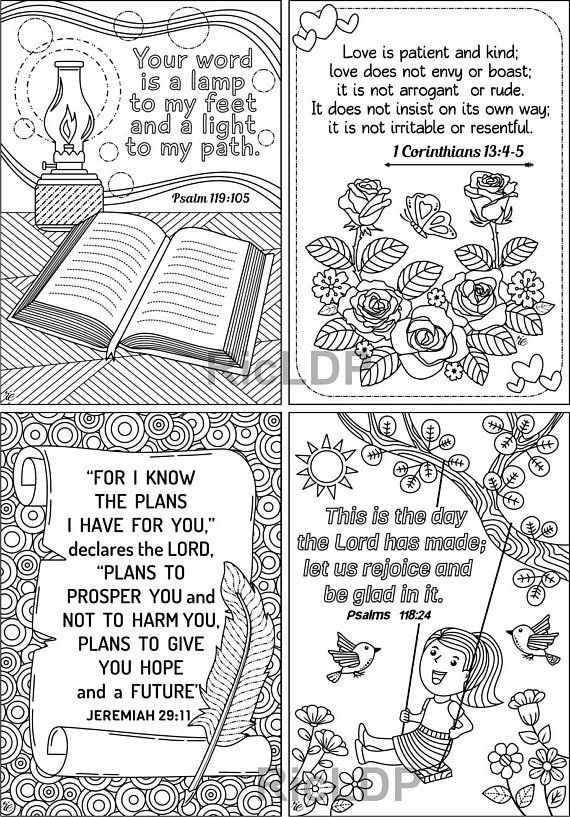 Set of 8 Coloring Bible Cards - Cute Scripture Doodles - Colouring ...
