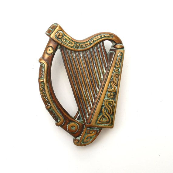 Antique Irish Harp Door Knocker Celtic Brass Antiques