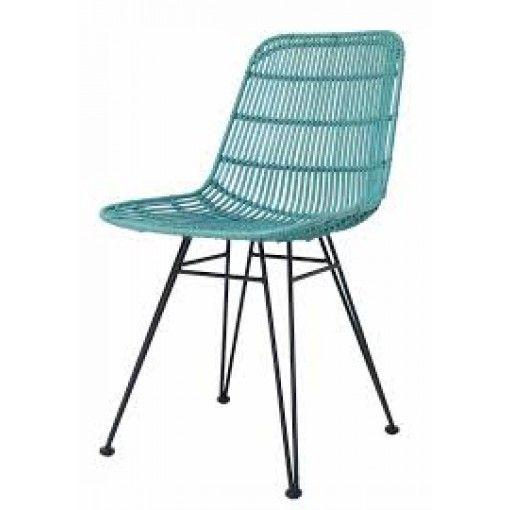 Rattan Dining Chair - Ocean Green ($329)