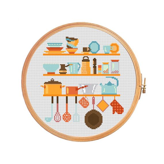 Utensils on shelves - modern cross stitch pattern - whisk for whipping soup ladle potholder plate pan cup grater kitchen dishes Cezve turk