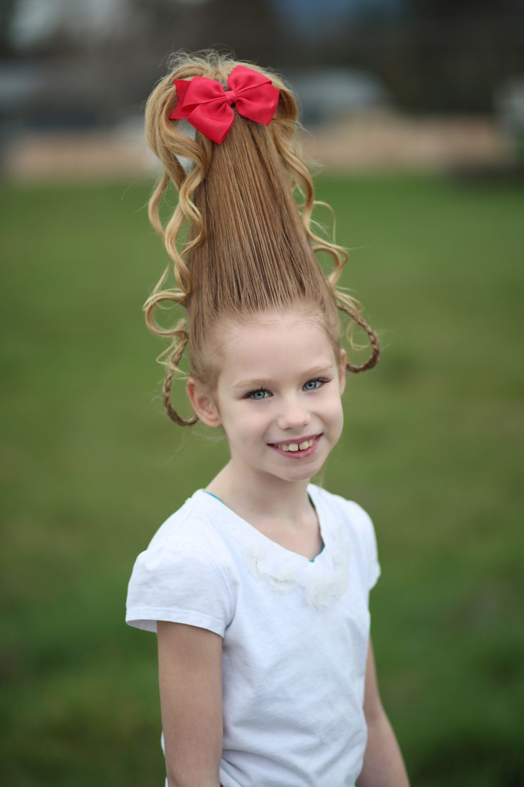 Alyssa's Cindy Lou Who hair for Dr. Seuss day at school