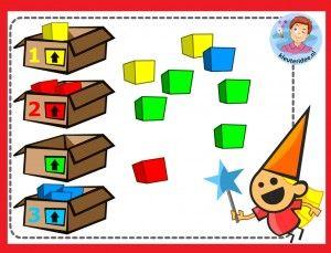 Kleuren sorteren en tellen, kleuters op digibord of computer, kleuteridee / Kindergarten color game for IBW or computer