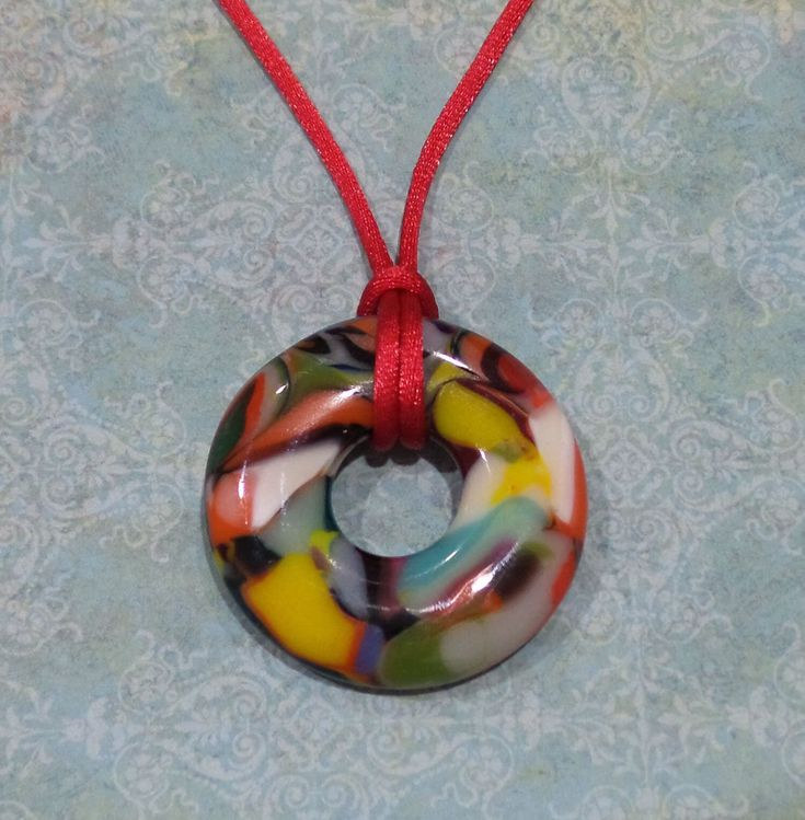 Large Fused Glass Pendant, Round Colorful Donut Necklace, Orange, Yellow, Green, Blue, Handmade Jewe