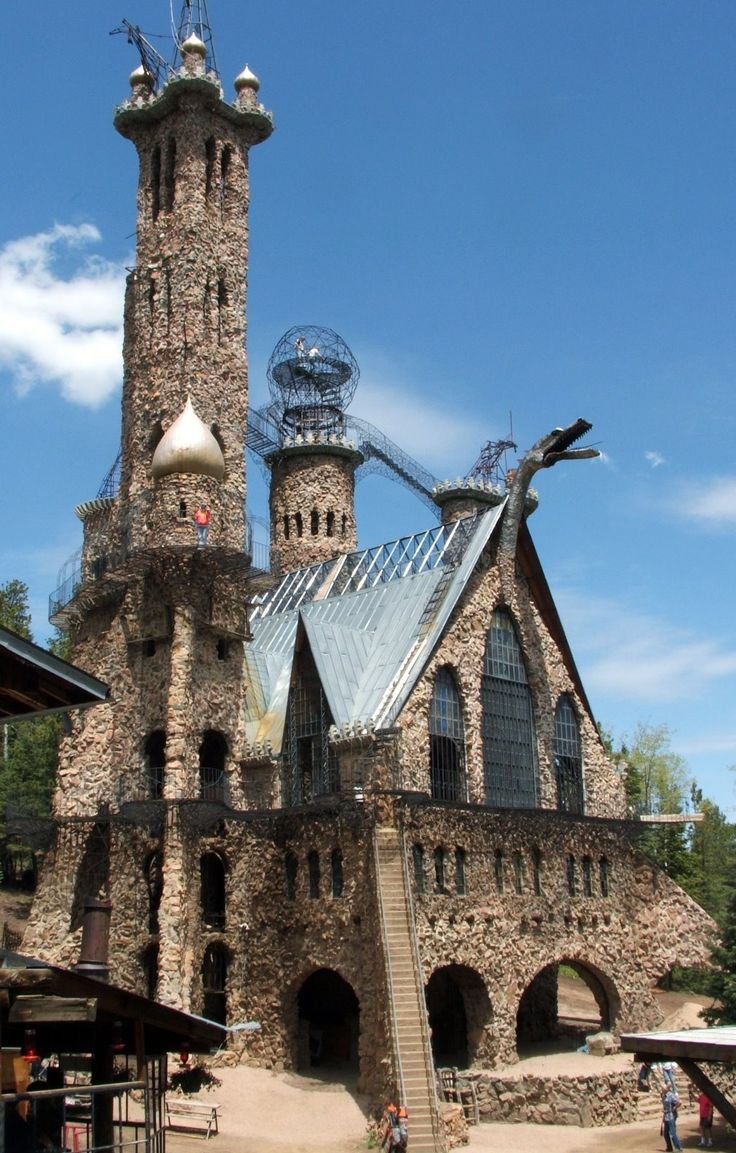 Bishops castle in Colorado... been here once and it was really neat.  I climbed to the highest point, which was really scary.