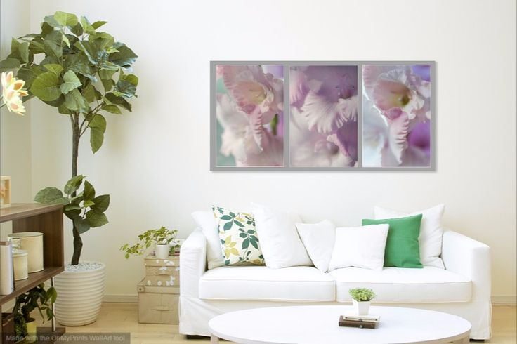 Pastel Gladiolus Triptych by Jenny Rainbow Soothing,warming and welcoming pastel hues add ambiance and a gentle glow to any room.  Pastels are the ideal color choices if you want something subtle and want to venture beyond cream and beige. #JennyRainbowFineArtPhotography #FloralArt #PastelColors #HomeDecor