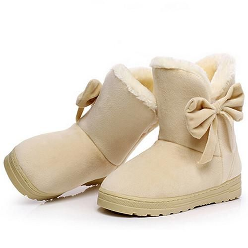 Ladies snow boots solid color classical with bow-tie slip-ons