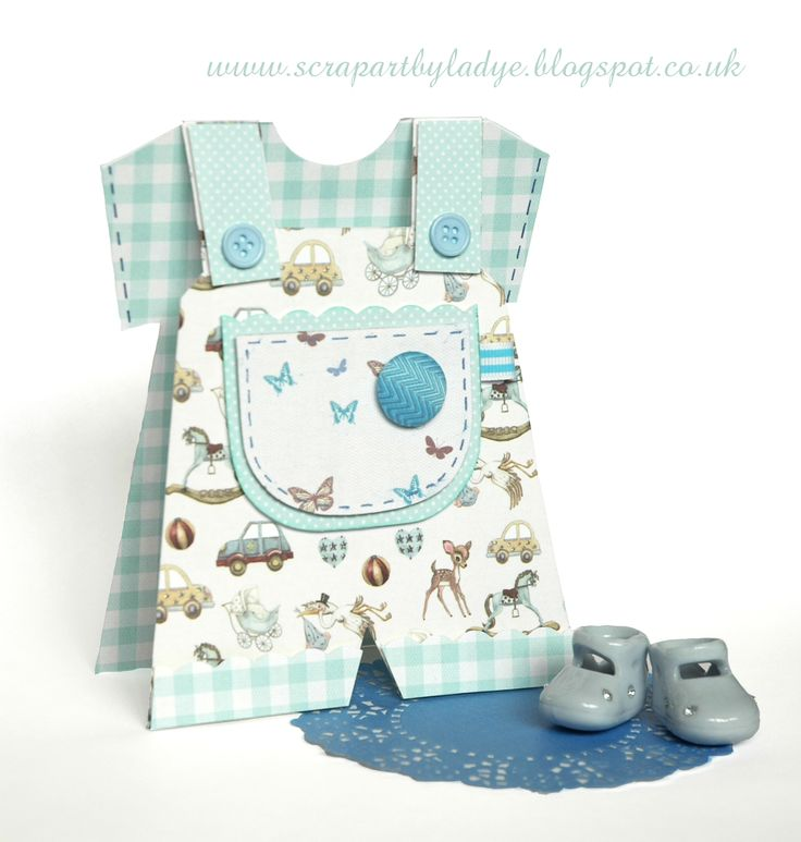 First Edition It's a Boy bay dungarees card by Lady E