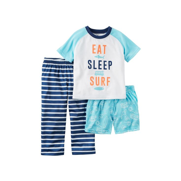 Baby Boy Carter's Graphic Tee, Print Shorts & Striped Pants Pajama Set, Size: 18 Months, Ovrfl Oth