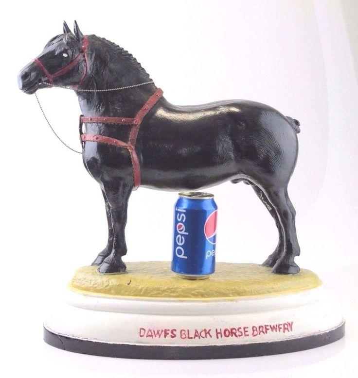 """Dawes Black Horse Ale Brewery Signed Ross Butler 19"""" Statue Sculpture Scarce Vtg #dawes"""