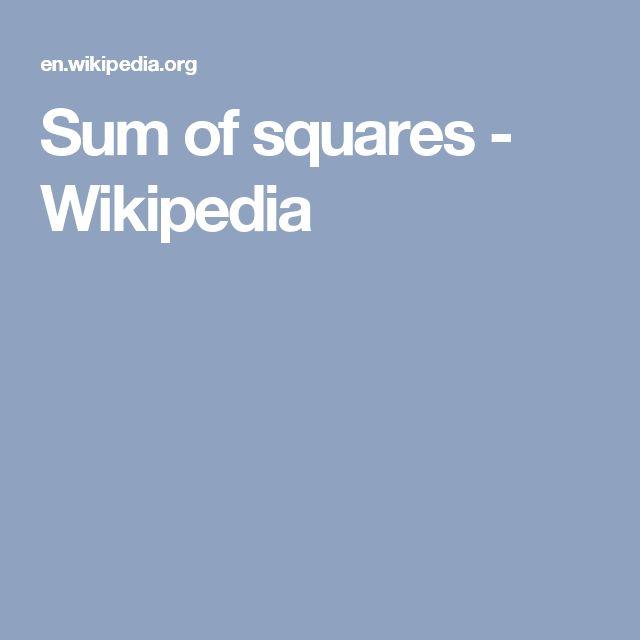 Sum of squares - Wikipedia