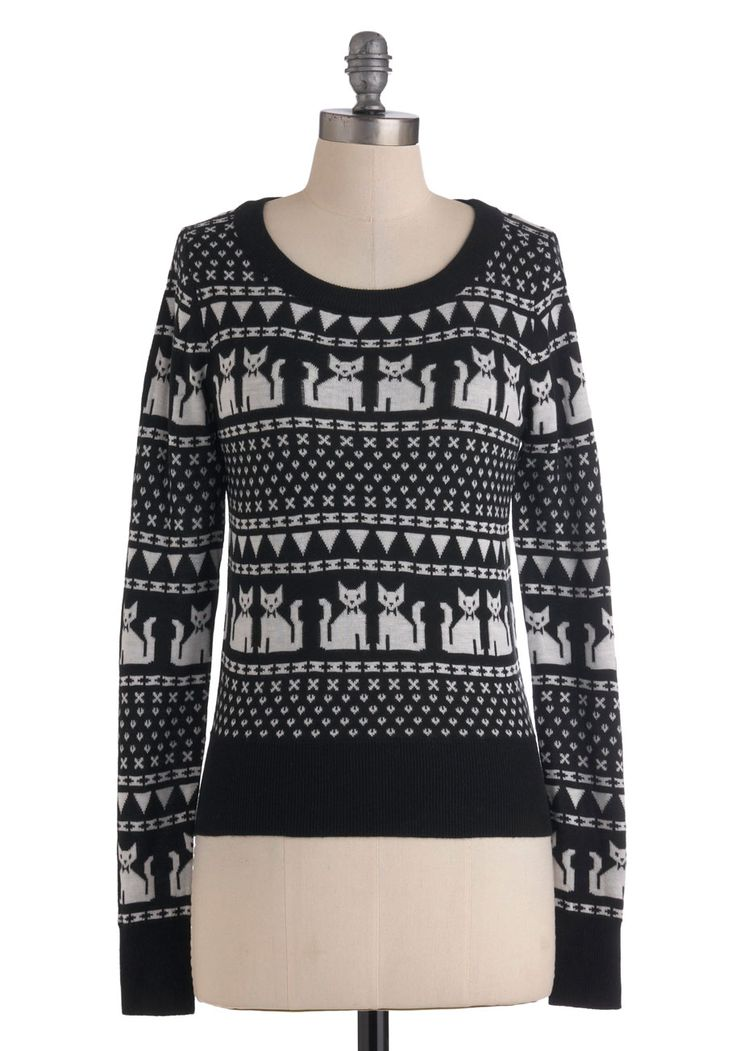 The Cats of Friends Sweater - Mid-length, White, Long Sleeve, Black, Print with Animals, Casual, Fall