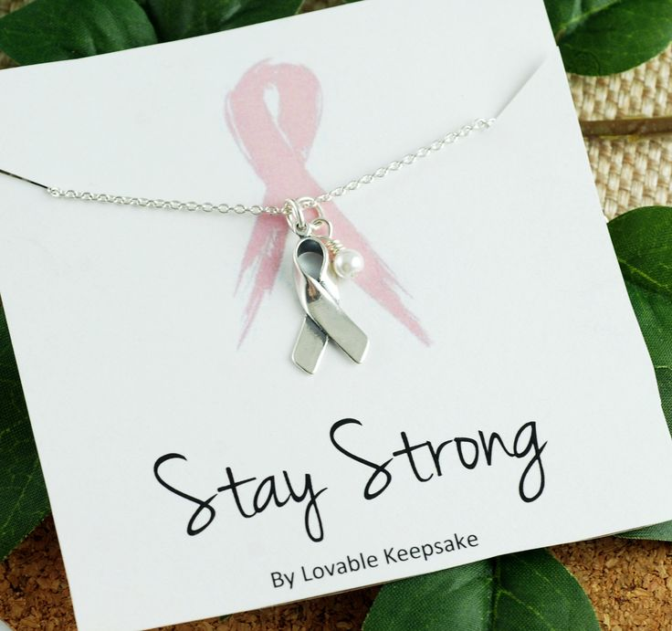 Inspirational Jewelry | Stay Strong Necklace | Breast Cancer Awareness | Awareness Ribbon Jewelry | Breast Cancer Gifts | Silver Ribbon by LovableKeepsake on Etsy