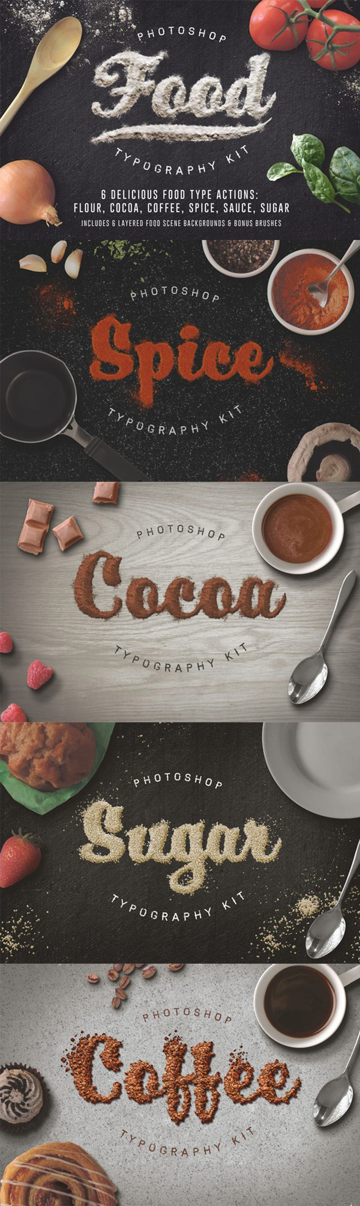 Food Typography Actions Modern Creative Design Bundle