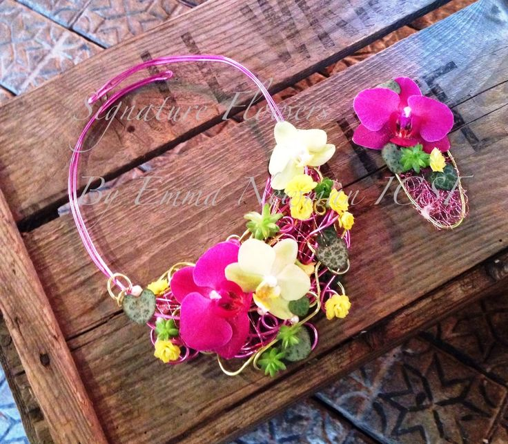 floral necklace, fresh flower jewellery, matching buttonhole, wire work, orchids, pink, wedding attire, boutinerre