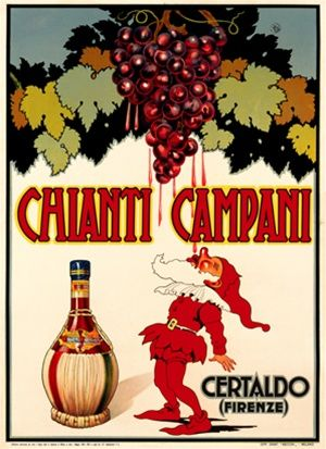 Chianti Campani 1940 Italy - Beautiful Vintage Poster Reproduction. This vertical Italian wine and spirits poster features a gnome or elf catching drops of wine from the grapes hanging above him. Giclee Advertising Print. Classic Posters