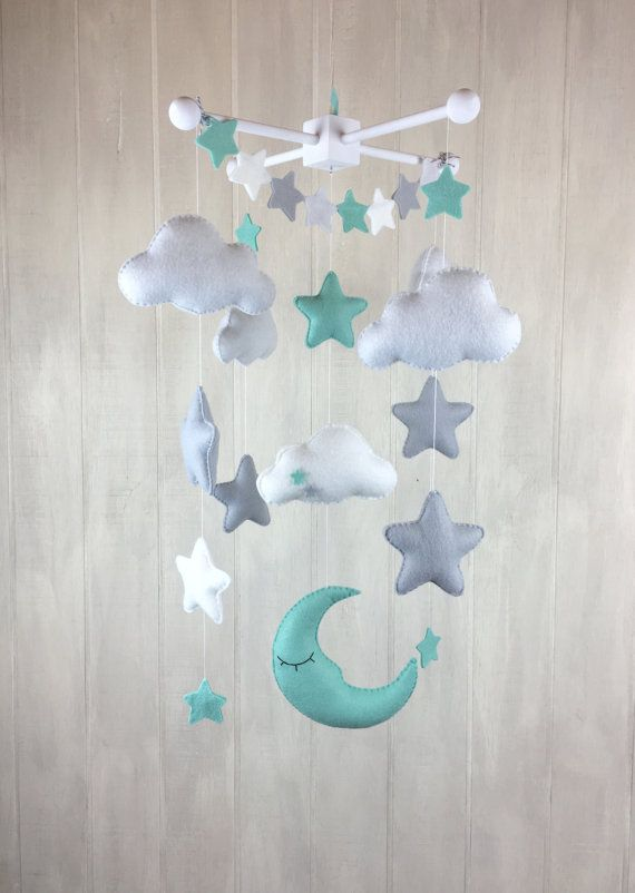 Baby mobile – moon mobile – cloud mobile – star mobile – large mobile – clouds and stars nursery – nursery decor – mint and grey