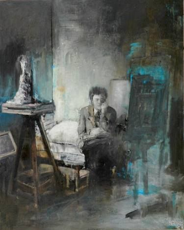 "Saatchi Art Artist Paolo Damiani; Painting, ""Interior with Sculpture (Studio from E.Scheidegger's photo)"" #art"