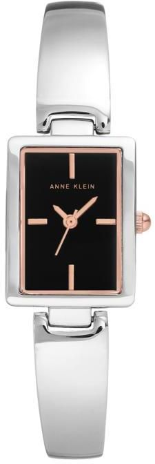 Anne Klein Silvertone Black Tank Dial Bracelet Watch