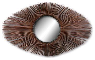 Rattan Sunburst Oval Mirror - eclectic - Wall Mirrors - Masins Furniture 56.5x33
