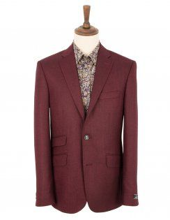 Douglas Pure New Wool Herringbone Jacket - Maroon