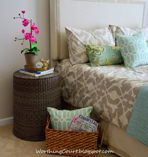 A Laundry Basket Turned Upside Down Makes A Great Nightstand Or Side Table.