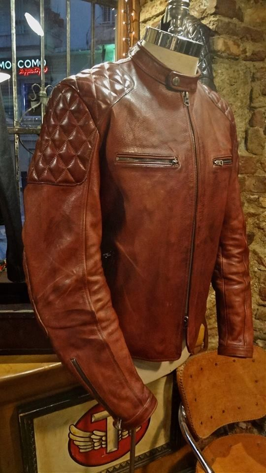 VINTAGE STYLE CAFE RACER 100% NATURAL VEG TANNING LEATHER JACKET #thedileathers…