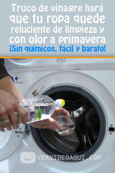 Truco de vinagre hará que tu ropa quede reluciente de limpieza y con olor a primavera. ¡Sin químicos, fácil y barato! #vinagre #lavadora #lavar #ropa #DIY #tips