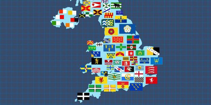 Every UK county's flag, in one map