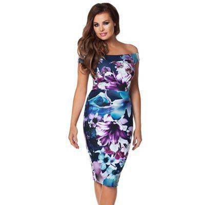 Jessica Wright Navy 'Lora' print bardot dress-   Debenhams