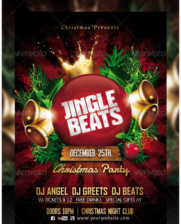 Jingle Beats Christmas Party Flyer Template Party Flyer