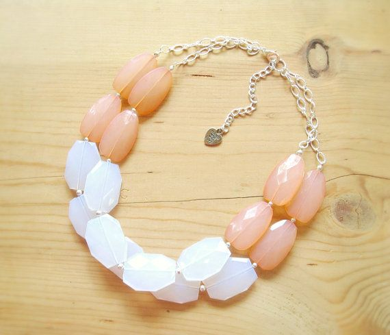 Coral and white statement necklace Coral by ThatsmineBoutique, $40.00