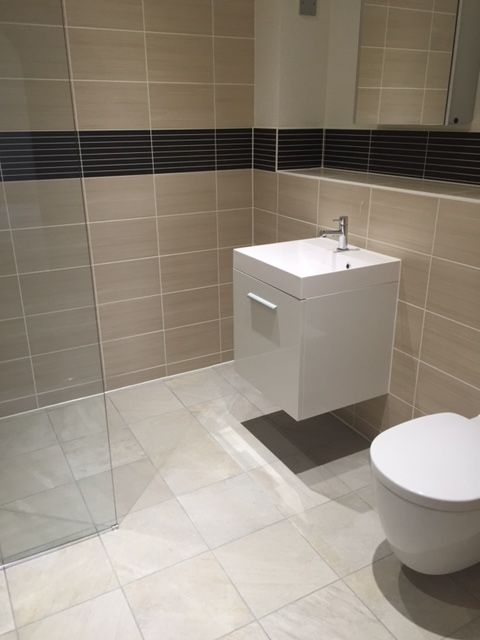 Wet Room with Cubic Basin and Natural Tiles #constructioncleans