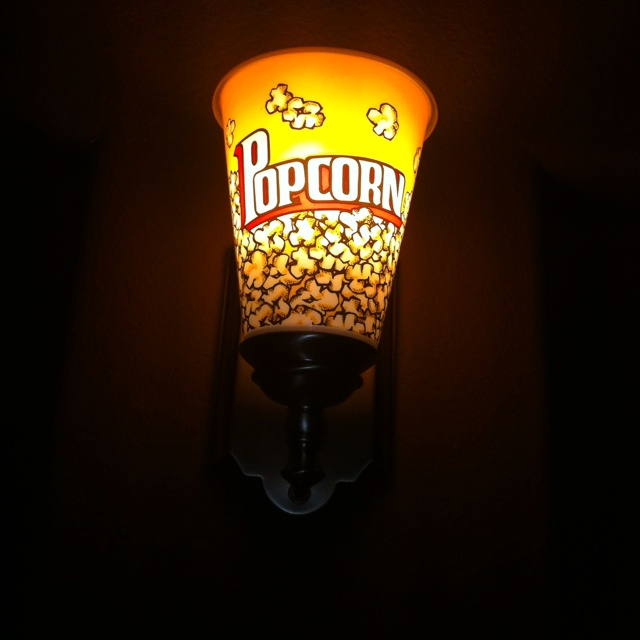 Andy made these light sconces for the media room out of plastic popcorn containers I found at Target for $1.00 | Pinterest | Plastic popcorn containers ... & Andy made these light sconces for the media room out of plastic ... azcodes.com