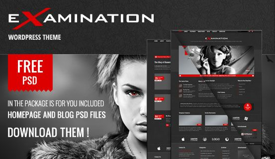 Feel free to use for your own project this PSD files of Examination WordPress Theme. Package includes layered PSD files of Homepage and Blog