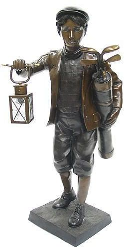 Golf Caddy With Lantern Bronze Statue Available At