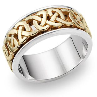 ApplesofGold.com - Celtic Wedding Band Ring in 14K Gold and Silver, $625