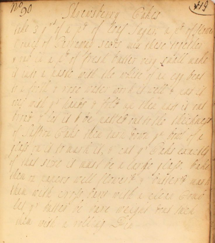 An 18th century recipe for Shrewsbury cakes from The Cookbook of Unknown Ladies