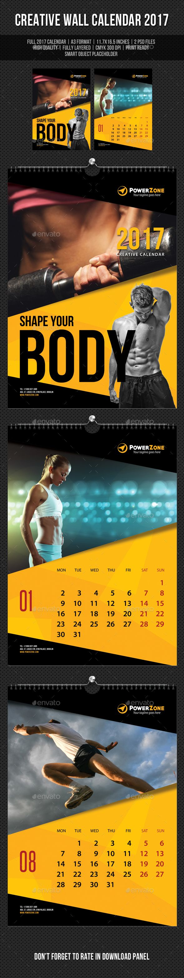 Creative Wall Calendar 2017 Template PSD. Download here: https://graphicriver.net/item/creative-wall-calendar-2017-v09/17265332?ref=ksioks