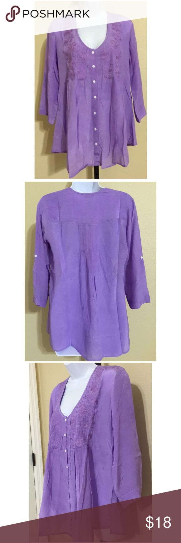 """💥MAKE OFFER💥Kyla Seo Flowy Festival Blouse Flowy Boho Festival Blouse                                               Kyla Seo Lavender Purple 3/4 Sleeve Sleeves can fold and fasten Embroidered Chest detail Size S  19"""" approx armpit to armpit 26"""" approx length 14"""" approx shoulder width NWT‼️5 AVAILABLE ‼️DO NOT PURCHASE LISTING. I WILL CREATE ONE FOR YOU‼️ Kyla Seo Tops Blouses"""