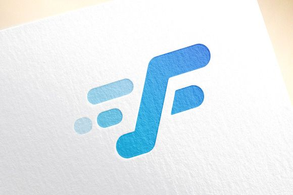 Fast line F letter logo template by Vector-Stock on @creativemarket