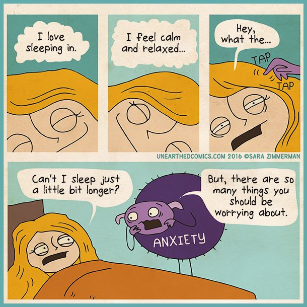 Psychology humor about waking up with anxiety