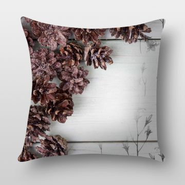 Ambbi Collections Brown Wooden Flower Cushion Cover