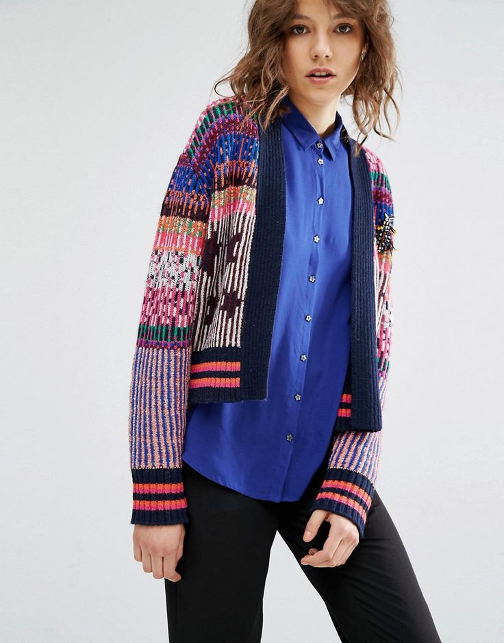 Image 1 ofMaison Scotch Shorter Knitted Cardigan In A Mixture Of Colourful…  Available at Masdings.com