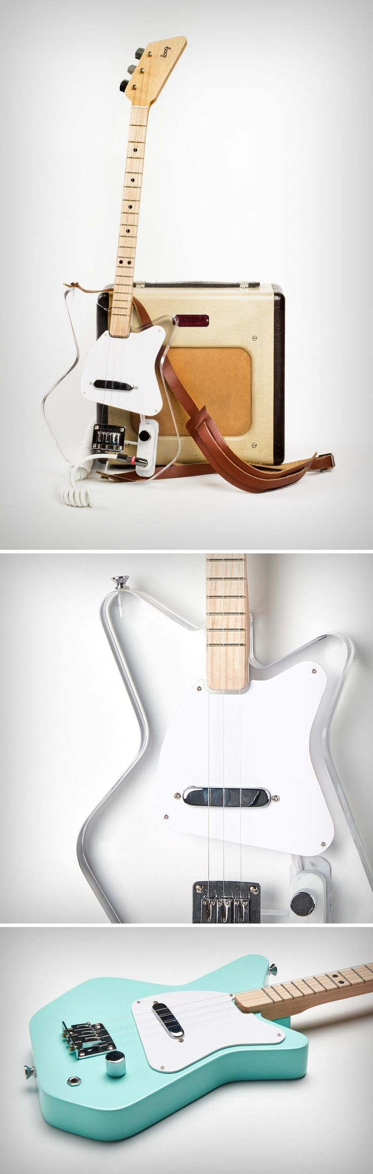 The new Loog guitars (Mini & Pro) are designed around a 3-string layout (one less than a ukulele). The strings however come with standard guitar tuning, making it simple to learn music principles and transition to a regular guitar when the time is right. The Loog even comes with its own mini-ecosystem of flash cards to make the learning process easy, and an app that teaches you how to play the latest and most popular songs.