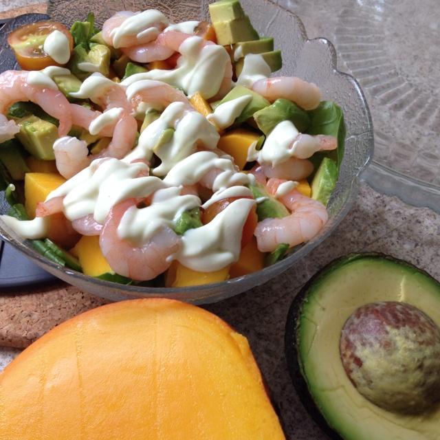 My Prawn, Mango & Avocado Salad w/ lime wasabi dressing
